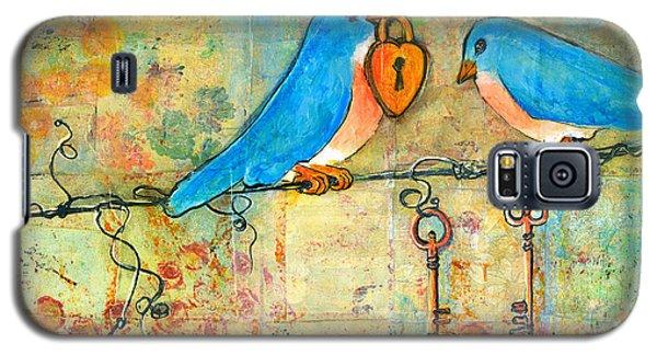 Bluebird Painting - Art Key To My Heart Galaxy S5 Case by Blenda Studio