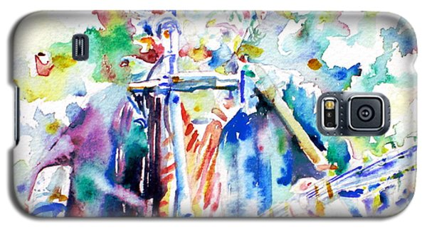 Bob Dylan Playing The Guitar - Watercolor Portrait.1 Galaxy S5 Case by Fabrizio Cassetta