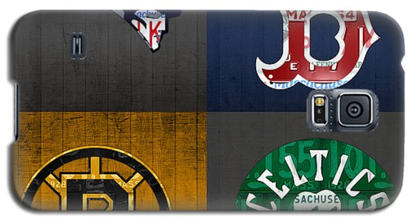 Boston Sports Fan Recycled Vintage Massachusetts License Plate Art Patriots Red Sox Bruins Celtics Galaxy S5 Case by Design Turnpike