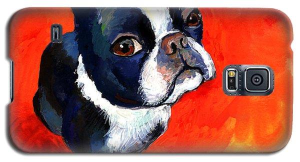 Boston Terrier Dog Painting Prints Galaxy S5 Case by Svetlana Novikova