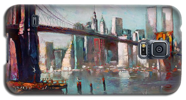 Brooklyn Bridge And Twin Towers Galaxy S5 Case by Ylli Haruni