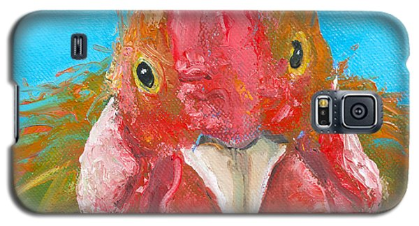 Brown Rooster On Blue Galaxy S5 Case by Jan Matson
