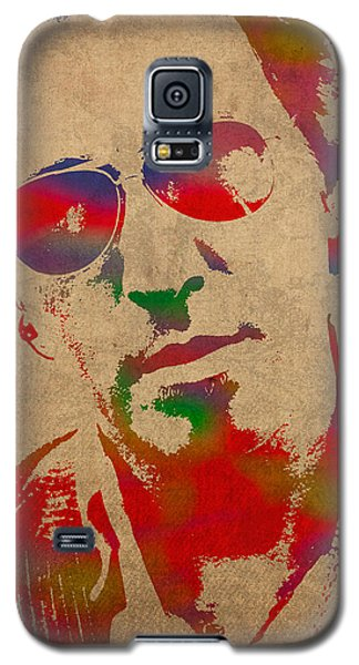 Bruce Springsteen Watercolor Portrait On Worn Distressed Canvas Galaxy S5 Case by Design Turnpike