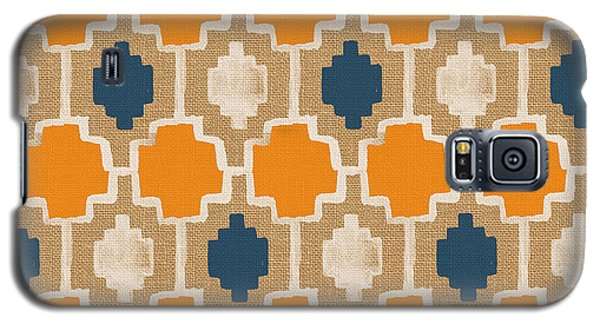 Burlap Blue And Orange Design Galaxy S5 Case by Linda Woods