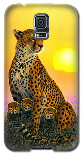Portraits Galaxy S5 Cases - Cheetah And Cubs Galaxy S5 Case by MGL Studio - Chris Hiett