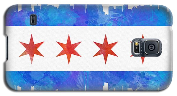 Chicago Flag Watercolor Galaxy S5 Case by Mike Maher