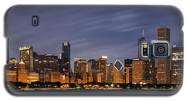 Skylines Galaxy S5 Cases - Chicago Skyline at Night Color Panoramic Galaxy S5 Case by Adam Romanowicz