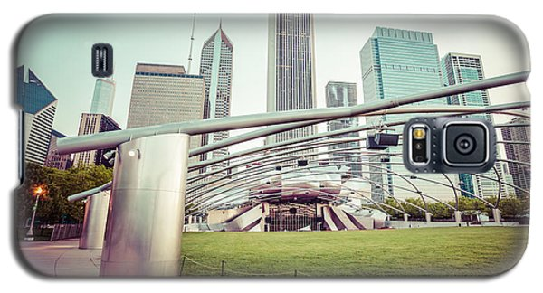 Architecture Galaxy S5 Cases - Chicago Skyline with Pritzker Pavilion Vintage Picture Galaxy S5 Case by Paul Velgos