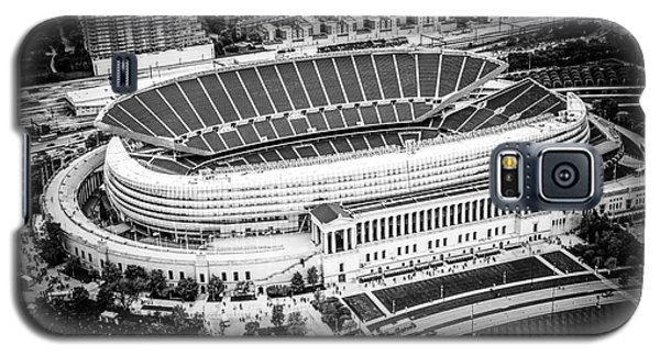 Chicago Soldier Field Aerial Picture In Black And White Galaxy S5 Case by Paul Velgos