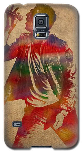 Chris Martin Coldplay Watercolor Portrait On Worn Distressed Canvas Galaxy S5 Case by Design Turnpike