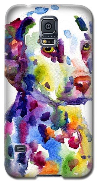 Colorful Dalmatian Puppy Dog Portrait Art Galaxy S5 Case by Svetlana Novikova