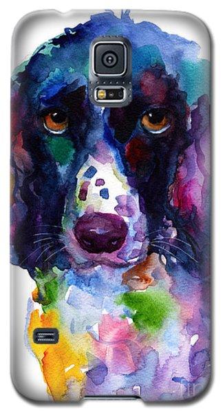 Colorful English Springer Setter Spaniel Dog Portrait Art Galaxy S5 Case by Svetlana Novikova
