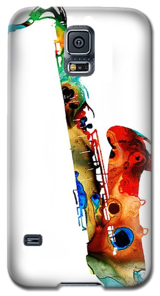 Music Galaxy S5 Cases - Colorful Saxophone by Sharon Cummings Galaxy S5 Case by Sharon Cummings