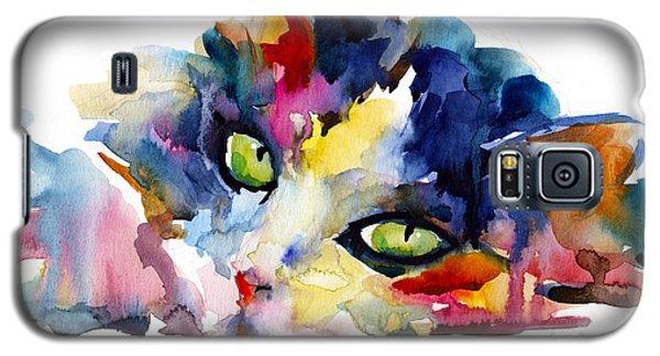 Colorful Tubby Cat Painting Galaxy S5 Case by Svetlana Novikova