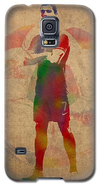 Cristiano Ronaldo Soccer Football Player Portugal Real Madrid Watercolor Painting On Worn Canvas Galaxy S5 Case by Design Turnpike