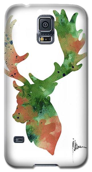 Deer Antlers Silhouette Watercolor Art Print Painting Galaxy S5 Case by Joanna Szmerdt