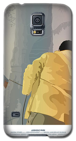 Dennis And The Dilophosaurus - Jurassic Park Poster Galaxy S5 Case by Peter Cassidy