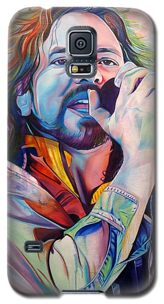 Eddie Vedder In Pink And Blue Galaxy S5 Case by Joshua Morton