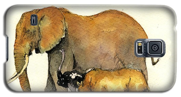 Elephant Ostrich And Rhino Galaxy S5 Case by Juan  Bosco
