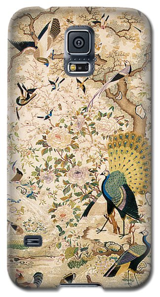 Tapestries - Textiles Galaxy S5 Cases - Embroidered panel with a pair of peacocks and numerous other birds Galaxy S5 Case by Chinese School