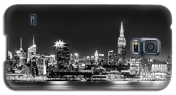 Skylines Galaxy S5 Cases - Empire State At Night - BW Galaxy S5 Case by Az Jackson