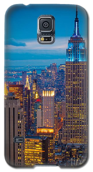 Blue Galaxy S5 Cases - Empire State Blue Night Galaxy S5 Case by Inge Johnsson