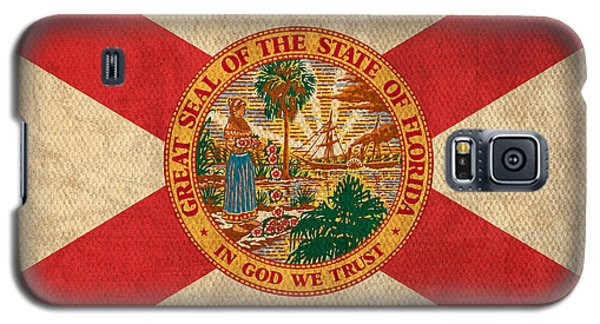 Florida State Flag Art On Worn Canvas Galaxy S5 Case by Design Turnpike
