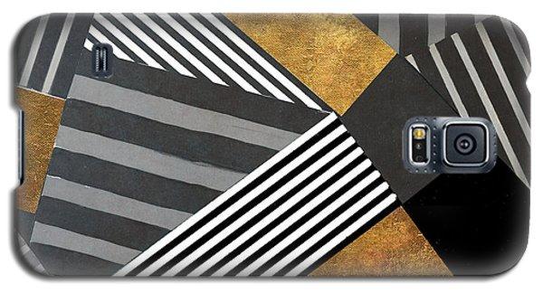 Geo Stripes In Gold And Black II Galaxy S5 Case by Lanie Loreth
