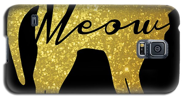 Golden Glitter Cat - Meow Galaxy S5 Case by Pati Photography