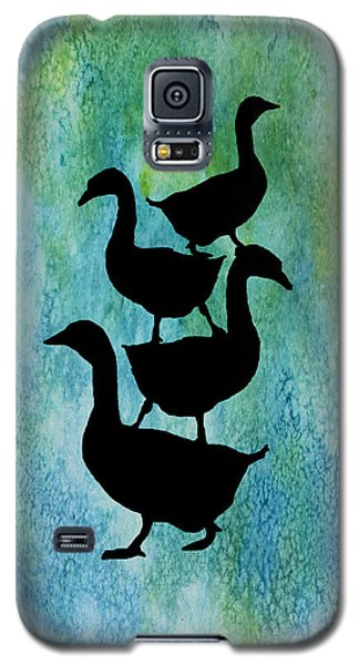Goose Pile On Aqua Galaxy S5 Case by Jenny Armitage