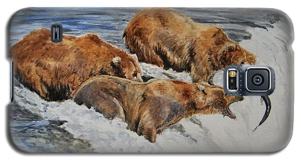 Grizzlies Fishing Galaxy S5 Case by Juan  Bosco