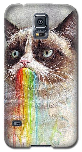 Grumpy Cat Tastes The Rainbow Galaxy S5 Case by Olga Shvartsur