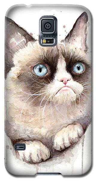 Grumpy Cat Watercolor Galaxy S5 Case by Olga Shvartsur