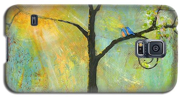 Bird Galaxy S5 Cases - Hello Sunshine Tree Birds Sun Art Print Galaxy S5 Case by Blenda Studio