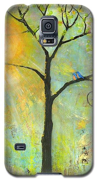 Hello Sunshine Tree Birds Sun Art Print Galaxy S5 Case by Blenda Studio