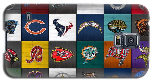 Hit The Gridiron Football League Retro Team Logos Recycled Vintage License Plate Art Galaxy S5 Case by Design Turnpike