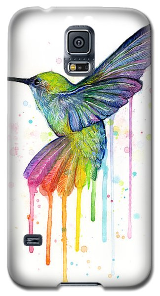 Hummingbird Of Watercolor Rainbow Galaxy S5 Case by Olga Shvartsur