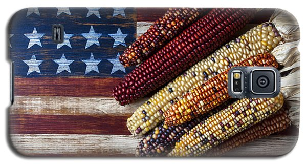 Indian Corn On American Flag Galaxy S5 Case by Garry Gay