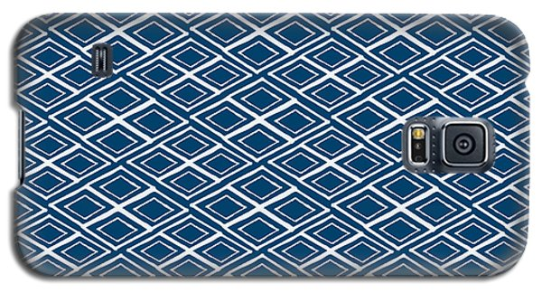 Indigo And White Small Diamonds- Pattern Galaxy S5 Case by Linda Woods