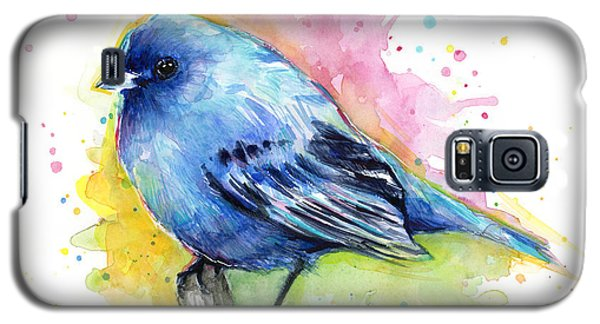 Indigo Bunting Blue Bird Watercolor Galaxy S5 Case by Olga Shvartsur