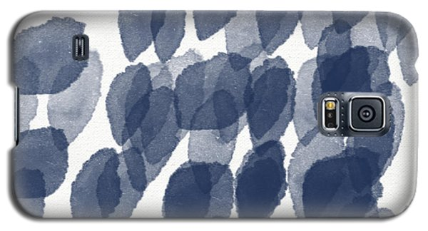 Indigo Rain- Abstract Blue And White Painting Galaxy S5 Case by Linda Woods
