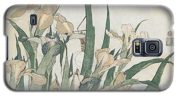 Iris Flowers And Grasshopper Galaxy S5 Case by Hokusai