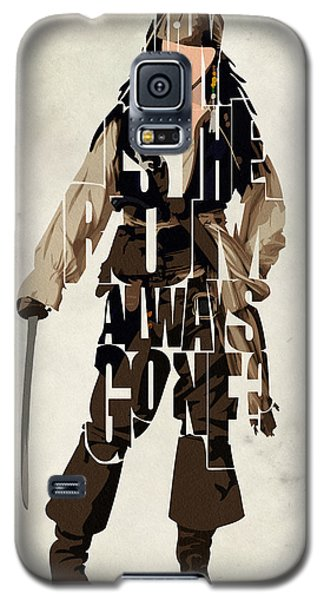 Jack Sparrow Inspired Pirates Of The Caribbean Typographic Poster Galaxy S5 Case by Ayse Deniz