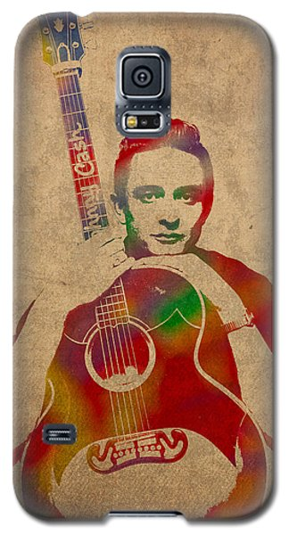 Johnny Cash Watercolor Portrait On Worn Distressed Canvas Galaxy S5 Case by Design Turnpike