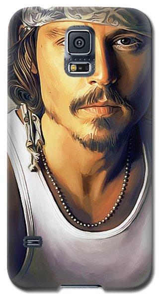 Celebrities Galaxy S5 Cases - Johnny Depp Artwork Galaxy S5 Case by Sheraz A