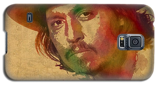 Johnny Depp Watercolor Portrait On Worn Distressed Canvas Galaxy S5 Case by Design Turnpike