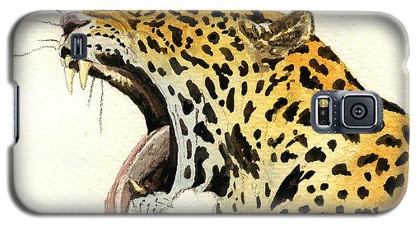 Leopard Head Galaxy S5 Case by Juan  Bosco