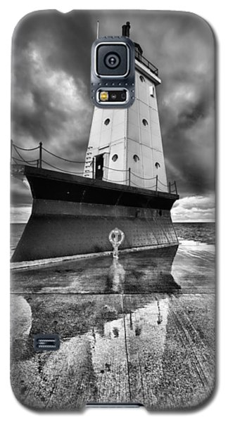 Light Galaxy S5 Cases - Lighthouse Reflection Black and White Galaxy S5 Case by Sebastian Musial