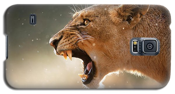 Animals Galaxy S5 Cases - Lioness displaying dangerous teeth in a rainstorm Galaxy S5 Case by Johan Swanepoel