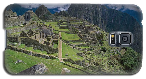 Llama At Machu Picchus Ancient Ruins Galaxy S5 Case by Chris Caldicott